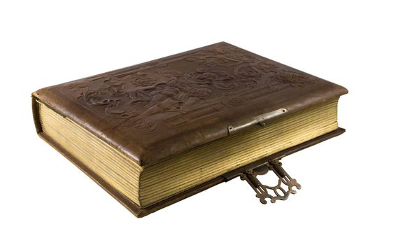 Old book with leather binding and gilt edging