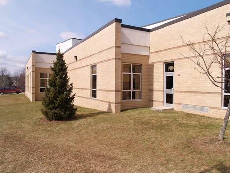 exterior view of a modern brick building