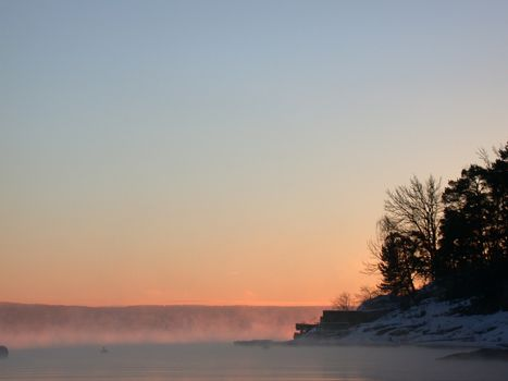 icecold morning with mist over the Oslofjord