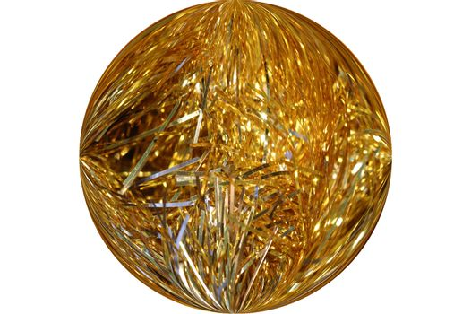 A golden globe of garland isolated on white.