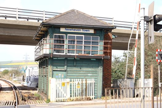 Railway signal box at Newhaven, East Sussex, uk.