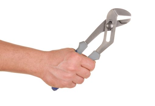 Hand holding pipe wrench isolated on white