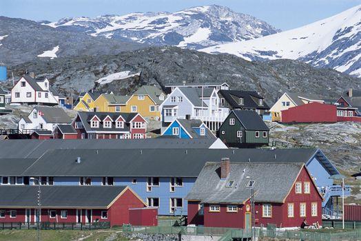 Village below Mountain Range