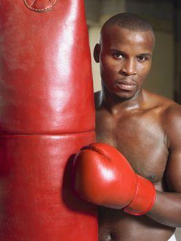 Muscular African American Boxer