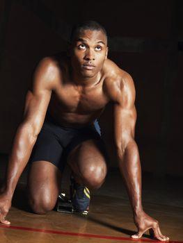 Muscular African American Runner