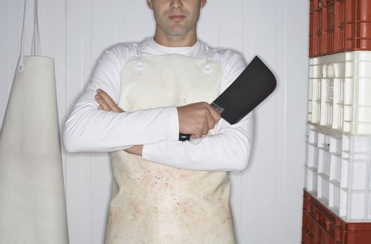 Butcher Holding Cleaver