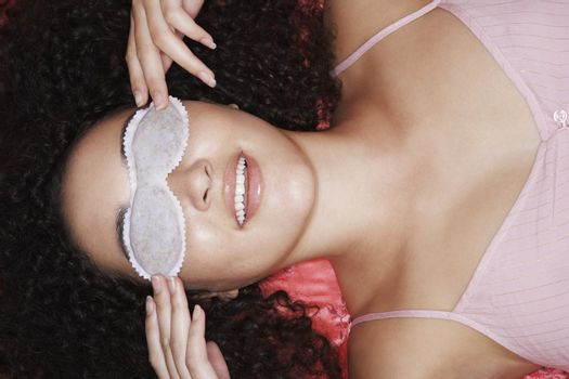 Teenage Girl Wearing Sleep Mask