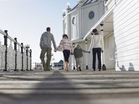 Family Walking on Boardwalk