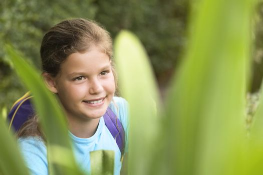 Girl Looking at Plants
