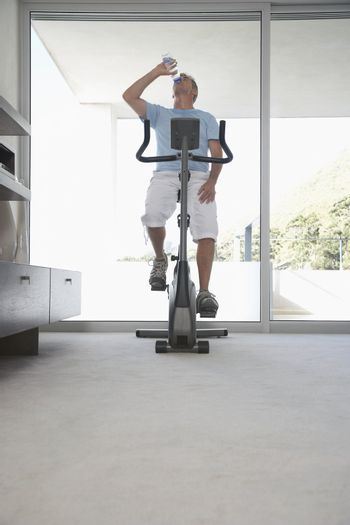 Man on Exercise Bicycle