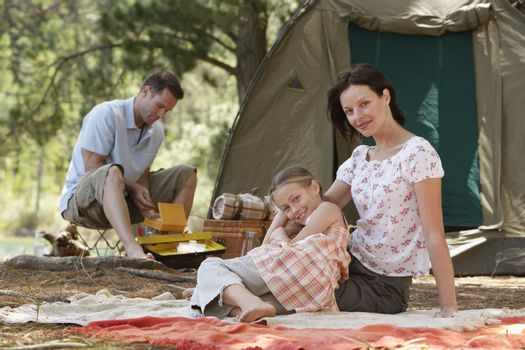 Family in Campsite