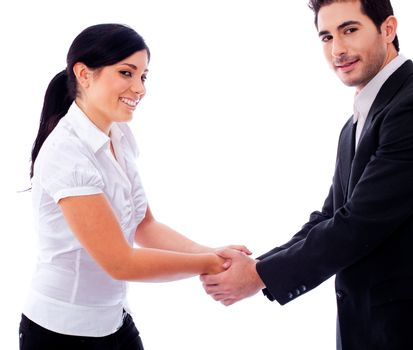 Corporate people hold their hands each other on a white isolated backgroud