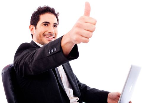 Business man Showing thumbs up on white isolated background