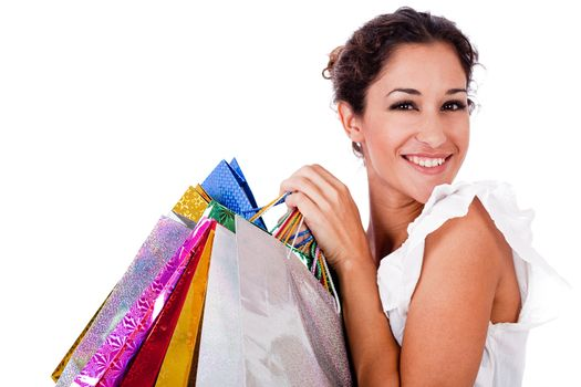 portrait of pretty young women smiling with shopping bag on white isolated background