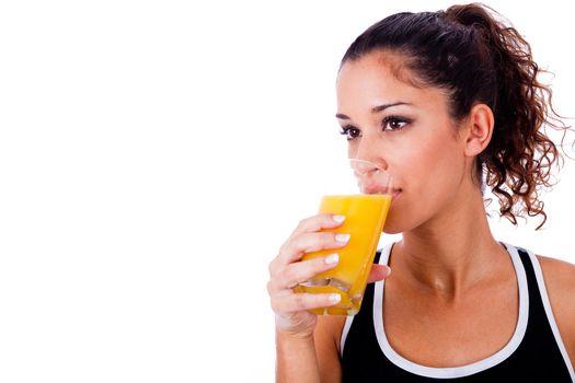fitness girl drinking fresh juice on white isolated background