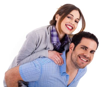 Young man carrying his girlfriend at the back on a white isolated background