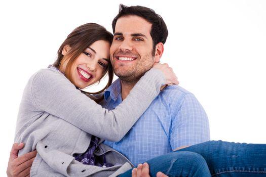 Young cheerful couples closeup shot indoor studio