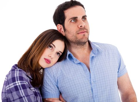 Women soothing herself on her boyfriend shoulders on a isolated white background