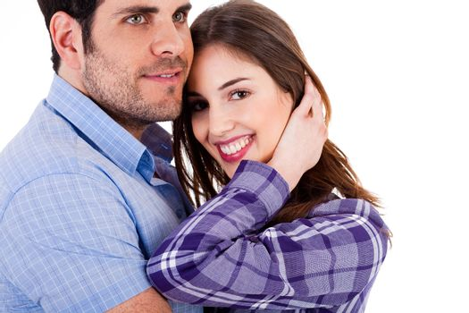 Young couples enjoying their love close up shot on a white background