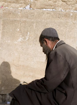 Praying Jewish near Jerusalem Western Wall