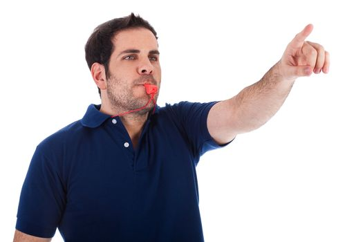 Sports coacher whistling and pointing up on a white background