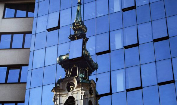 Churchs reflection in a modern hotel in Vienna