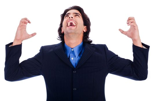 portrait of excited young business man with hands raised in white isolated background