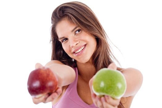 closeup of a girl giving apple in both hands in isolated white background