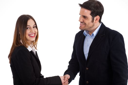 Business man welcoming a women by shake hands on a white background