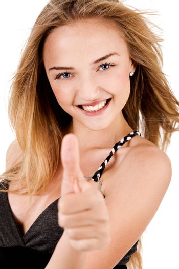 Happy Young Lady Showing Thumb'S Up on isolated background