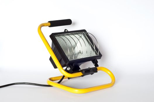 small yellow spotlight on a white background