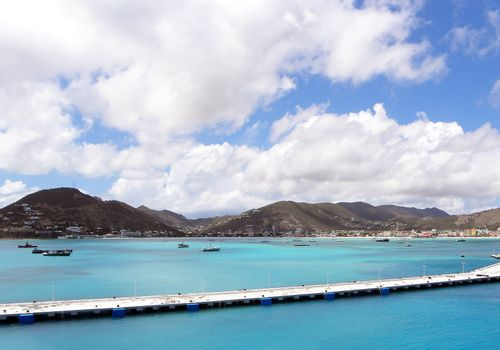 View of a Caribbean port from a cruise ship