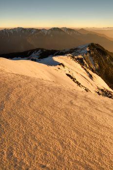 sunset snow slope