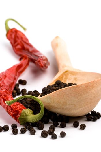 spices and wooden spoon