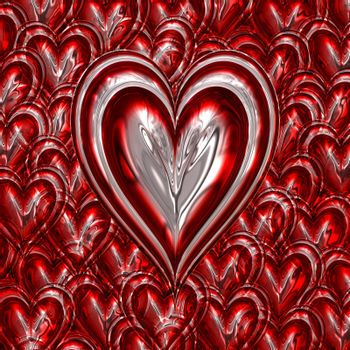 red and silver metallic loveheart on heart background