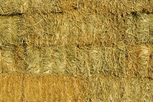 Abstract of Stacked Straw Hay Bails