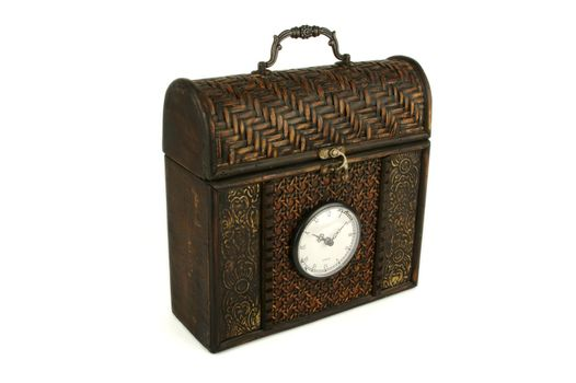 Ornate Carriage Clock Box on a White background.
