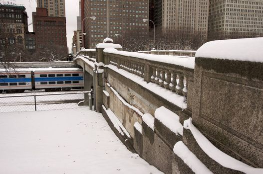 Bridge Over Chicago Train on a Snowy Day