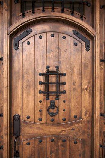 A newly constructed, modern American home wooden doorway.