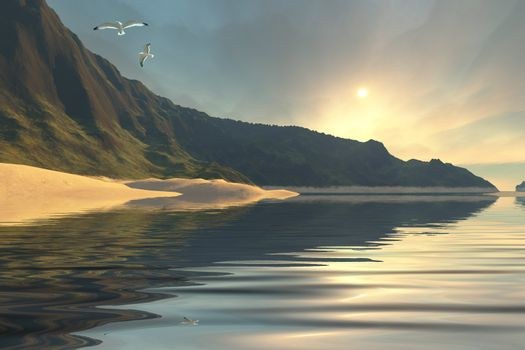 The sun sets on a beautiful mountainside and shoreline.