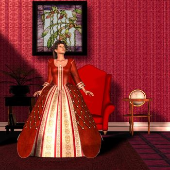 A lady in a beautiful red velvet gown is the picture of refined womanhood in the Victorian Era.
