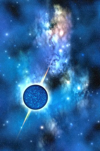 A large star with concentrated matter hovers in the cosmos.