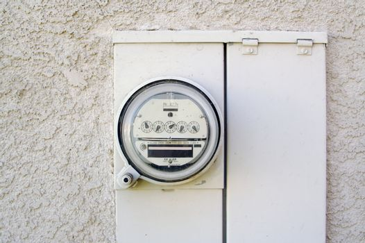 Electric Meter on Outside Stucco Wall