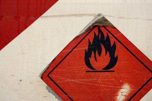 Grunge flammable symbol