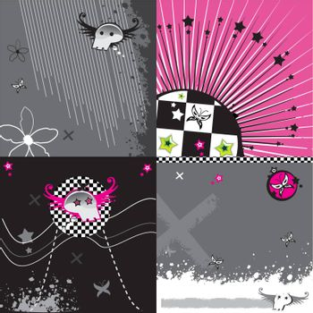 Abstract pink emo background set