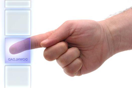 "Concept : Glass keypad. ""Click Here"" key"