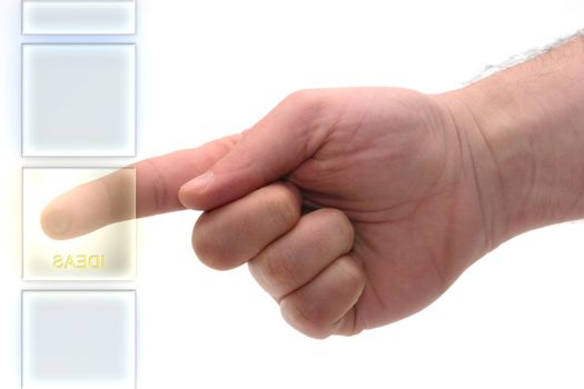 """Concept : Glass keyboard with """"ideas"""" key."""
