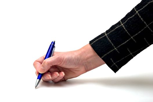 Female hand with blue pen