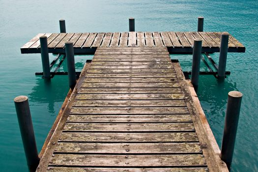 Empty dock in calm lake