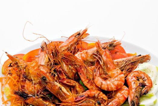 Plate of flambe prawns